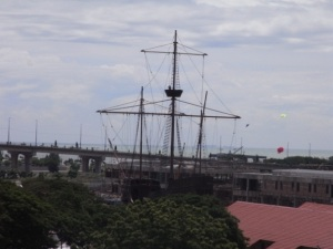 A replica of the Flor de la Mar which houses the Maritime Museum in Melaka