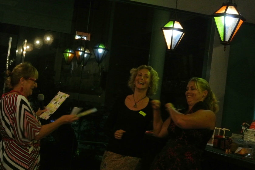 Dany, handing out the prizes to Ingrid and Susan