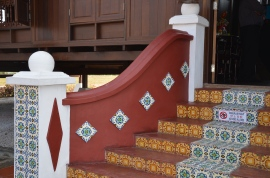 A typical fully-tiled entrance to a traditional Malay house