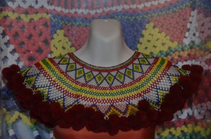 This bead collar, known as Marek Empang, is worn together with the traditional attire of the Iban
