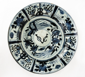 "Dutch ceramic plate with ""VOC"" inscribed. On display at Gallery C, Muzium Negara"